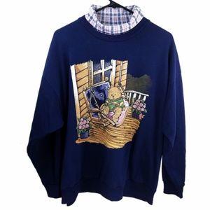 '90s Grandma Teddy Chillin' Sweatshirt Blue Large